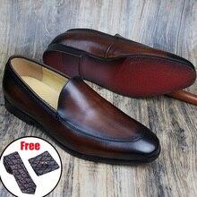 Shoes Phenkang Business-Dress Slipon Wedding Black Genuine-Leather Brand Bullock Men