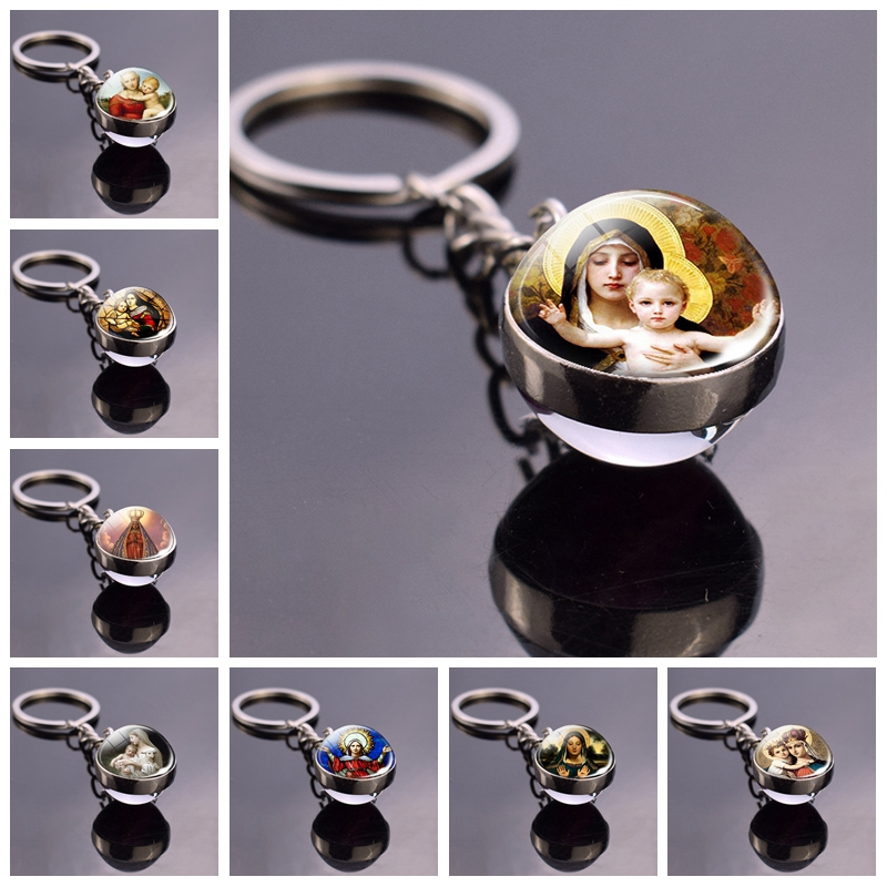 Virgin Mary Jewelry Mother Of Baby Double Side Key Chains Catholic Glass Ball Keyring Jesus Christian Gifts