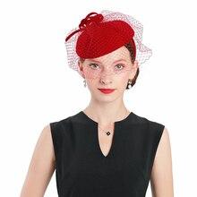 Fascinators Red Weddings Pillbox Hat For Women Bow Wool With Veil Fedora Cap Vintage Ladies Church Dress Sinamay Derby Hats