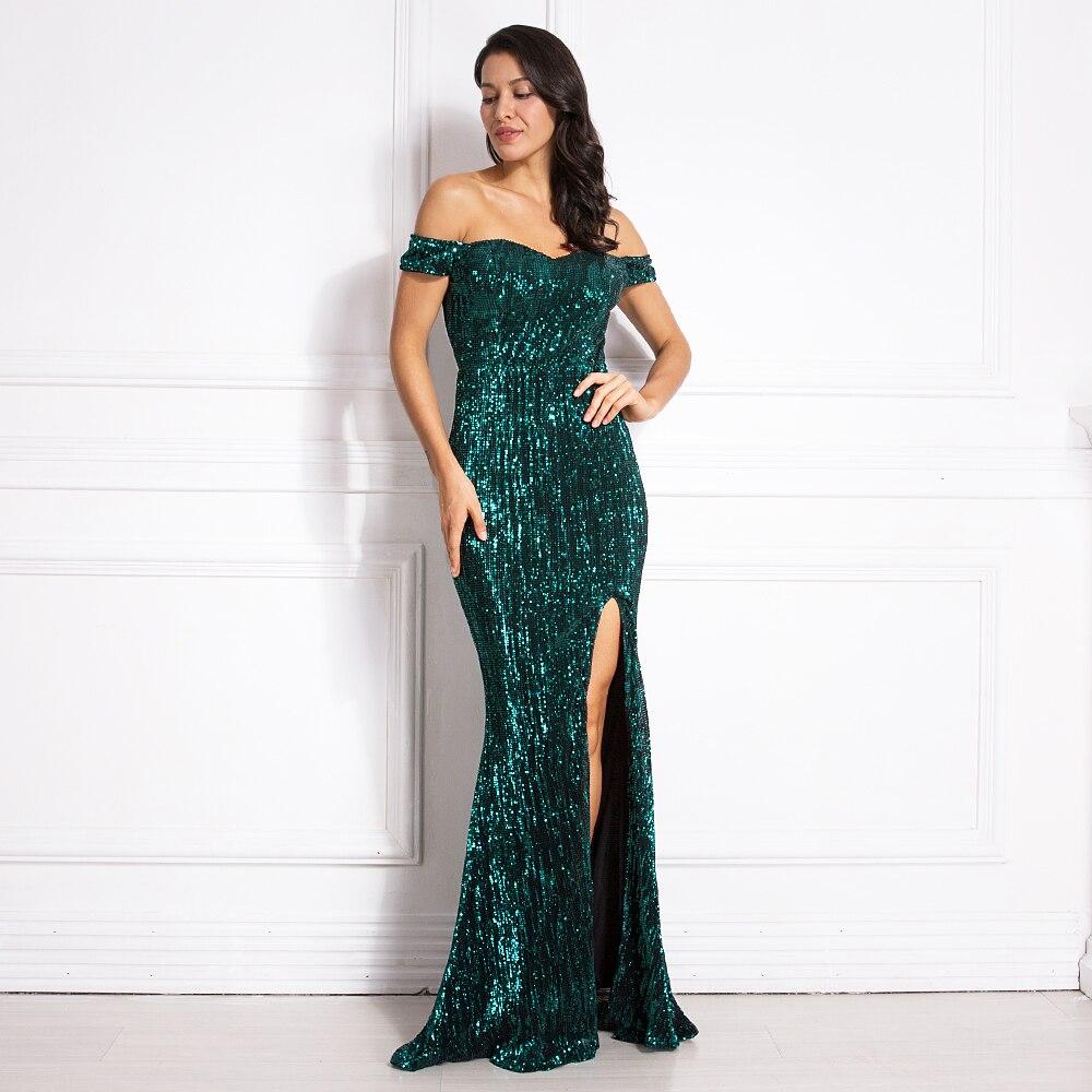 Robe Maxi pailletée argent fendue devant à épaules dénudées robe moulante longueur au sol robe élégante sirène