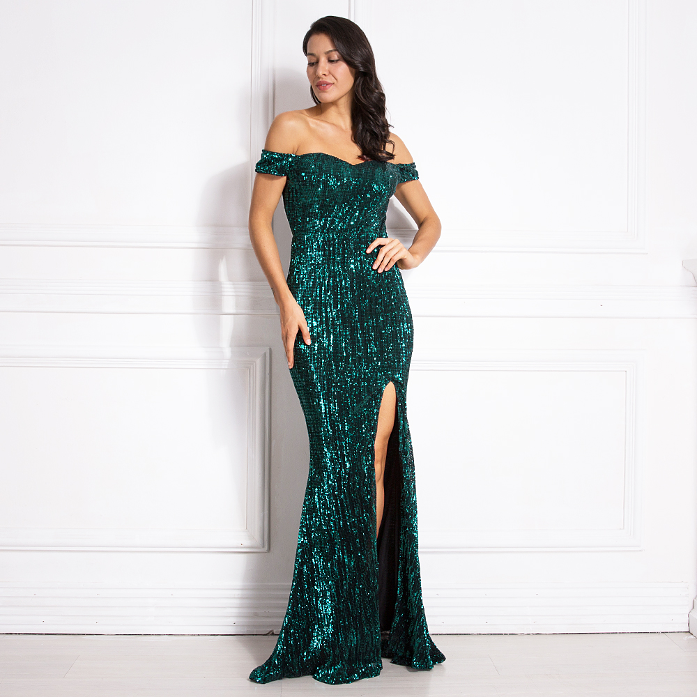 Silver Stretchy Sequined Maxi Dress Split Front Off the Shoulder Bodycon Floor Length Dress Elegant Mermaid Dress Green Gold-in Dresses from Women's Clothing