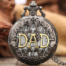 Pocket-Watch Necklace Gifts Quartz Retro Black Gold Birthday for Daddy Dad-Display Hollow