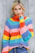 купить 2019 autumn and winter sweater women new rainbow striped print sweater high collar loose color matching sweater sweater women онлайн
