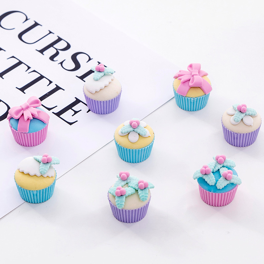 4 Pcs Cute Fancy Dessert Cake Rubber Eraser School Office Pencil Erasers Writing Drawing Student Kids Gift Stationery Supplies