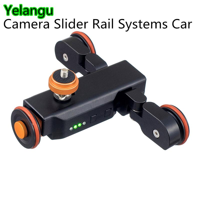 Yelangu L4 Camera Slider Dolly Car Rail Systems Time Lapse Electric Motorized Dolly Car For Smart Phone Camcorder Dslr Camera image