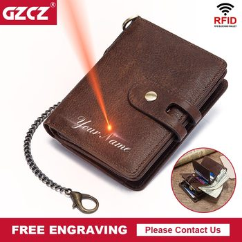 GZCZ Casual  Wallet Men Crazy Horse Wallets Coin Purse Short Male Money Bag Quality Designer RFID Chain With Free Engrave - discount item  48% OFF Wallets & Holders