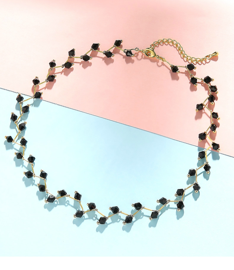 Hf722dc78ef7443e98b3344ac371795acC - Fashion Gold Necklace for Women Charming Black Crystal Beads Chain Chokers Handmade Party Jewelry collares Accessories