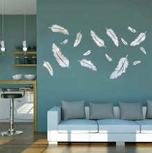 Acrylic Mirror Wall Decor Removable DIY Feather Modern Art Stickers for Home Office Decoration Bathroom Living Room Bedroom