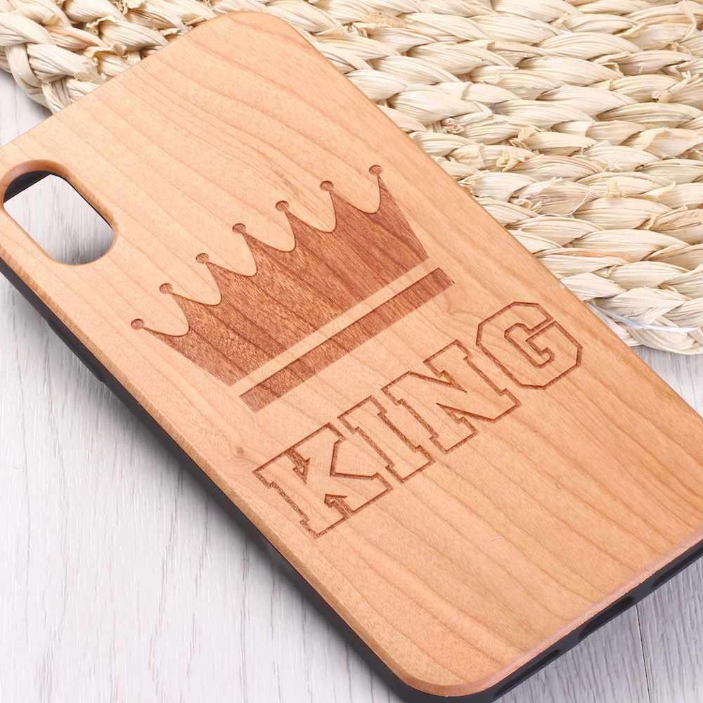 Para o iphone 6 6 6S Plus 7 7Plus 8 8Plus XR X XS Max 11 Pro Max gravado Coroa Da Rainha do Rei de Madeira Real Caso de Telefone Coque Funda