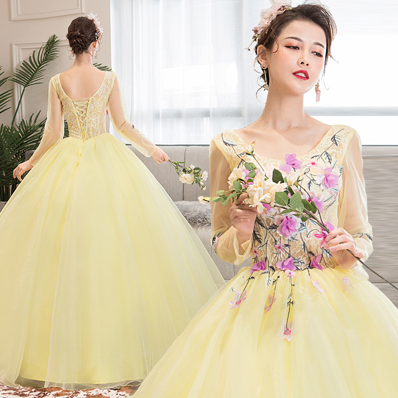 Dubai Arabic Ball Gown Princess Quinceanera Dresses Girls Long Sleeves Masquerade Sweet 16 Dresses Ball Gowns Vestidos De 15 Ano