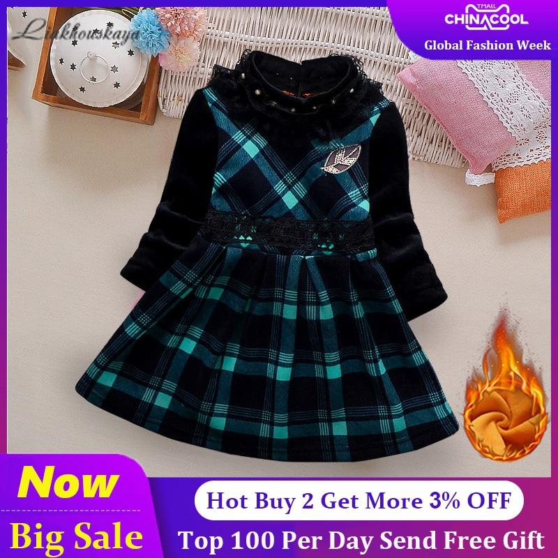 Бархатное платье для девочек; коллекция 2019 года; сезон осень зима; одежда в клетку для маленьких детей; платье для маленьких девочек; хлопковые теплые рождественские платья принцессы Платья      АлиЭкспресс