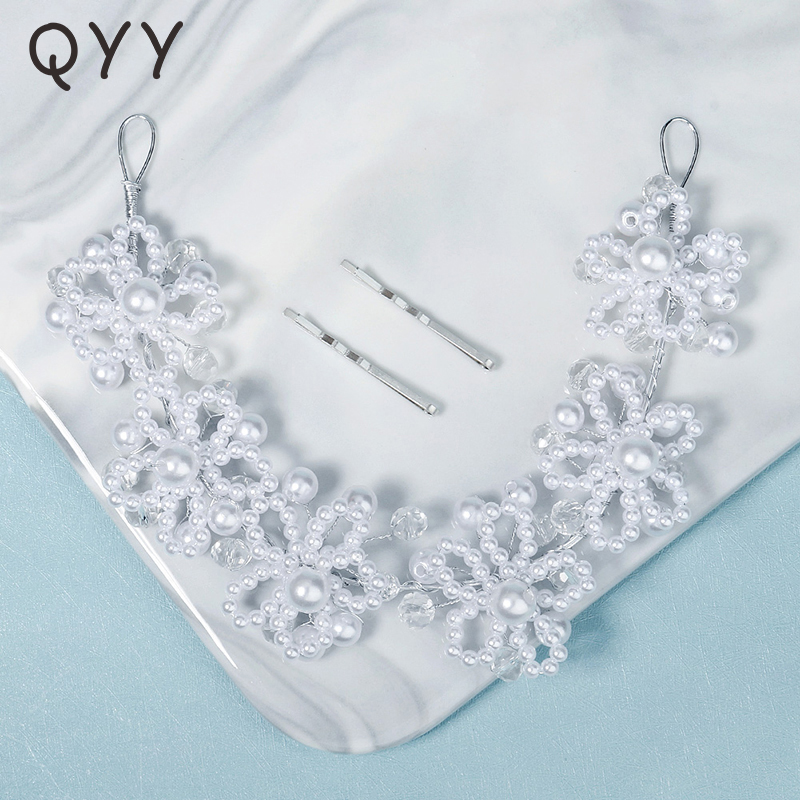 QYY Flower Pearl Headbands for Women Hair Accessories Wedding Silver Color Hairband Bridal Headpiece Party Hair Jewelry Gift
