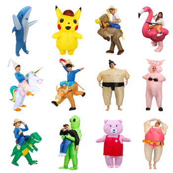 New Inflatable Dinosaur Costume Alien Sumo Party Costumes Unicorn Suit Dress Cosplay Disfraz Halloween Costumes For Adult Kids pikaalafan giant inflatable toy christmas bar party costumes riding elk inflatable performance costumes puppet stage costumes