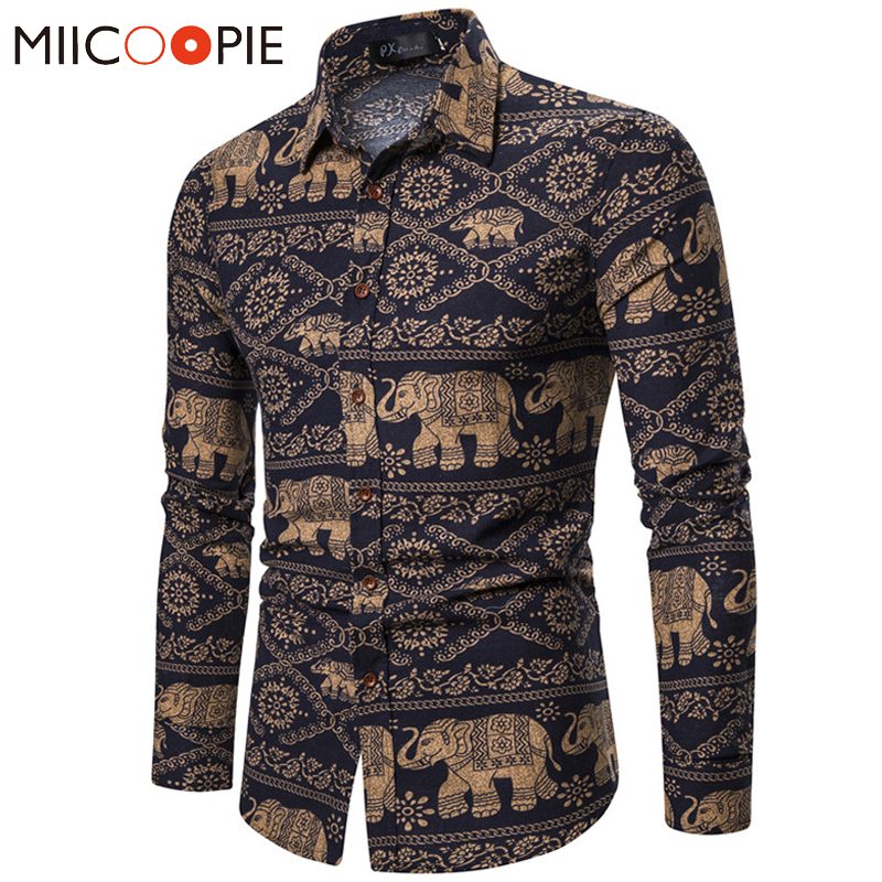2019 Brand Long Sleeve Men Shirt Plus Size Slim Long Sleeve Elephants Printting Shirts Mens Dress Retro Striped Camisa Hombre