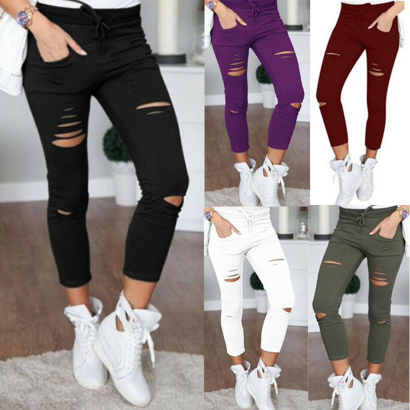 2018 Hot Sale Women Skinny Ripped Holes Leggings Casual Hole Jeans Pants Leggings High Waist Stretch Slim Pencil Trousers