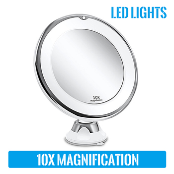 LED Magnifying Makeup Mirror Suction Cup Folding Vanity Mirror 10X Magnifying Makeup Mirror 360 Degrees Rotating Mirror with LED magnifying mirror wasserkraft k 1003