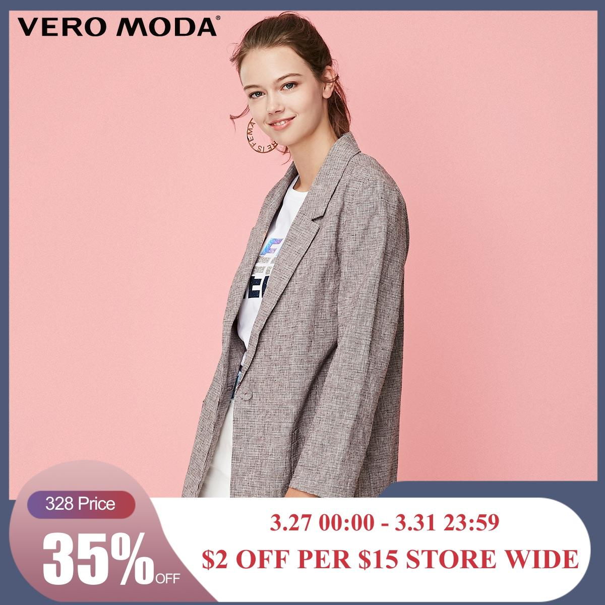 Vero Moda Women's Cotton Plaid Lapel One-button Wrist Sleeves Blazer | 319108512