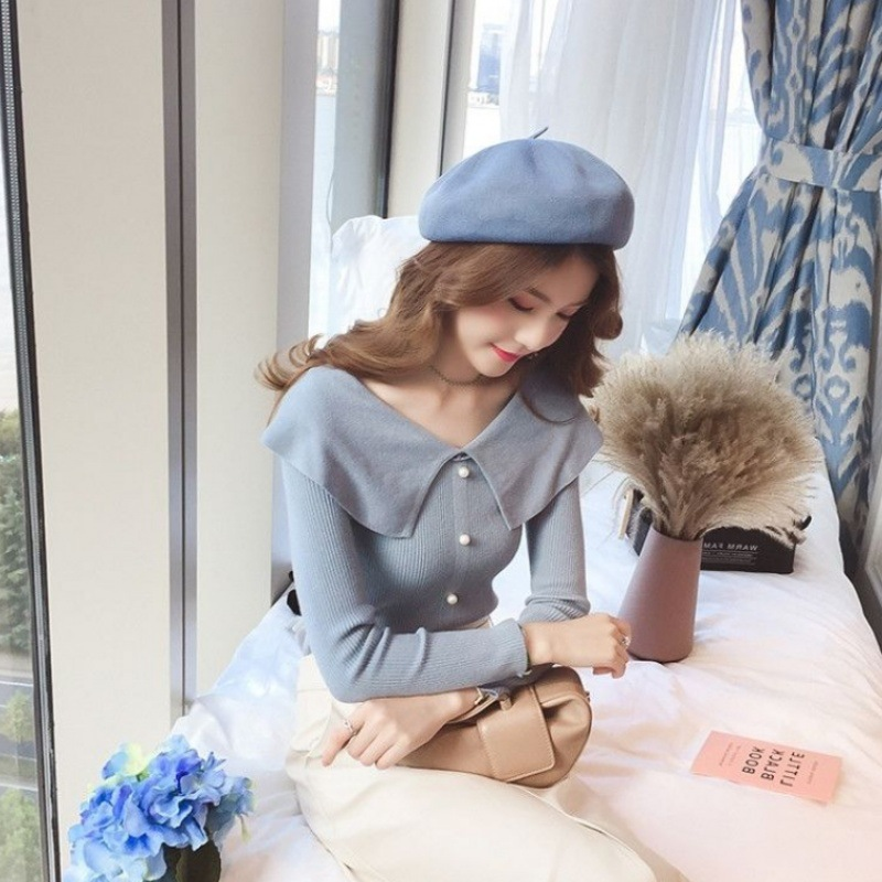 2019 New Doll Collar Sweater Women Solid Color  Pullover Long Sleeve Fashion Bottoming Sweaters Jumper 5 Colors Optional