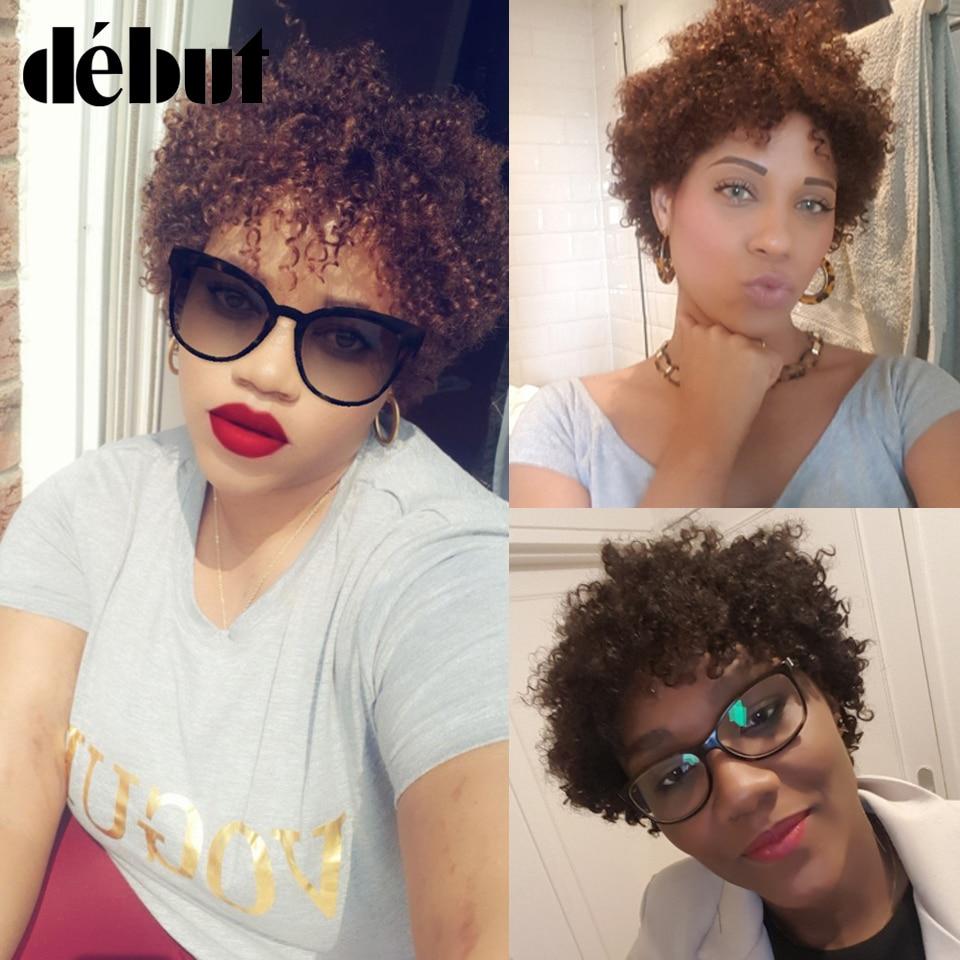 Debut Wigs Cheap Human Hair Short Bob Wigs For Black Women Afro Kinky Curly Ombre Human Hair Wigs Brazilian Machine Made #2 Wigs