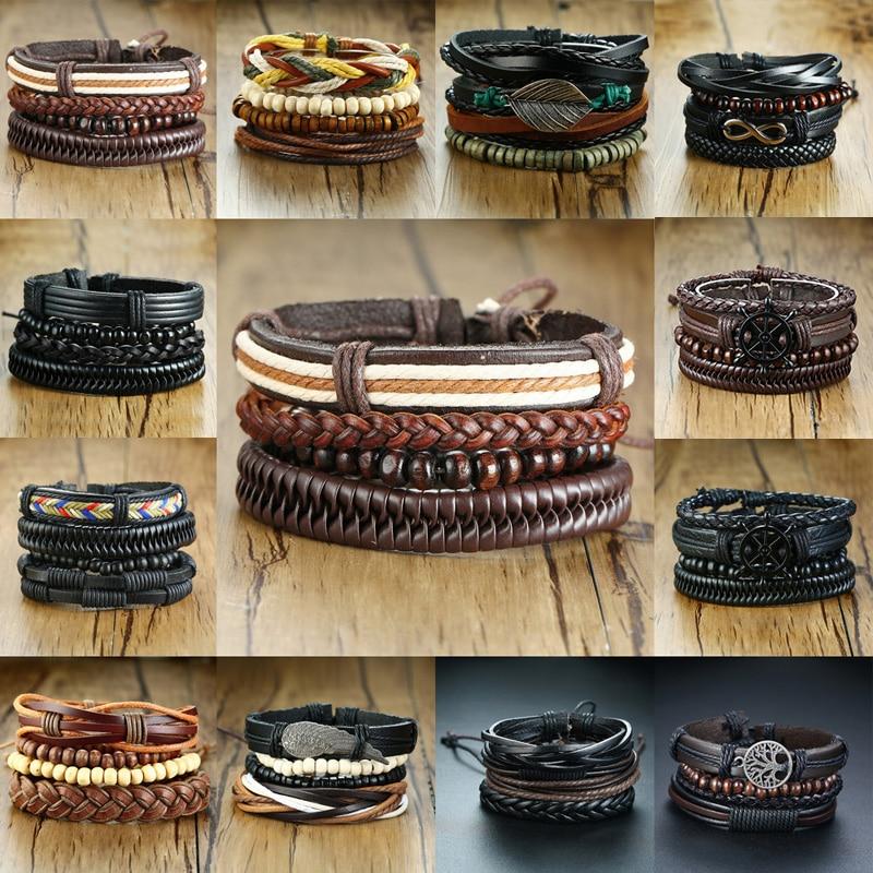 Vnox Assorted Men's Bracelets Set 4pcs Mixed Leather Wrap Bracelet Black Brown Bangles Punk Male Rock Accessory