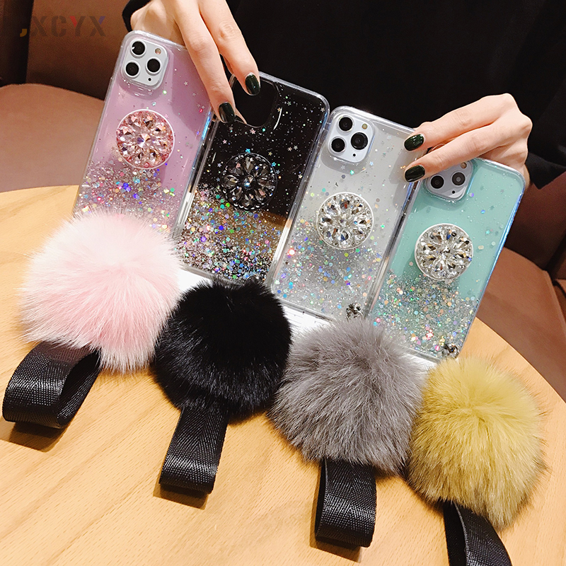 3D Diamond Glitter Hairball Standing Soft Phone Case for iPhone And Samsung 3