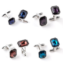 5pairs/lot New 2020 Blue Crystal Cufflinks French  Elegant Luxury Cuff Links Classic Gifts For Men Women Cuff Buttons Jewelry classic crystal spider cufflinks for men high quality male french shirt cuff links for men s jewelry birthday wedding gift