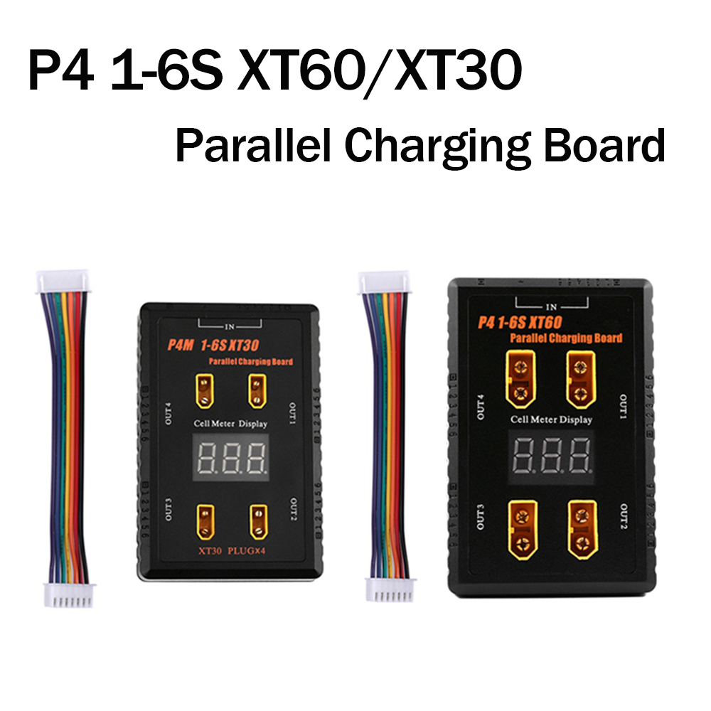 P4 1-6S XT60/XT30 Plug Parallel Charging Board 4 Channels Charger For LIPO Battery Aluminum Case And Full Plastic Shell