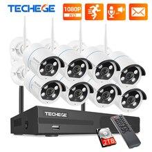Techege 8CH NVR 키트 1080P 무선 CCTV 보안 카메라 시스템 양방향 오디오 2MP 방수 야외 와이파이 비디오 감시 키트