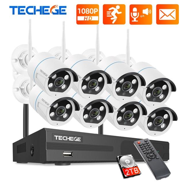 Techege 8CH NVR Kit 1080P Wireless CCTV Security Camera System Two Way Audio 2MP Waterproof Outdoor WIFI Video Surveillance Kit