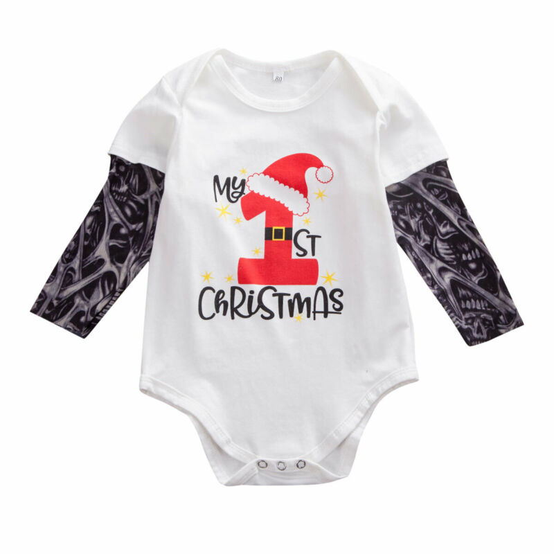 USA Newborn Baby Girl Boys My 1st Christmas Clothes Romper Bodysuit Xmas Outfits