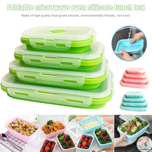 4pcs Collapsible Containers Silicone Food Storage Microwave Fridge Lunch Box GHS99