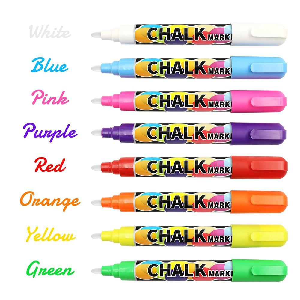 8colors Liquid Chalk Marker Pens Erasable Multi Colored Highlighters LEDWriting BoardGlass Window Art Marker Pens School Suppile