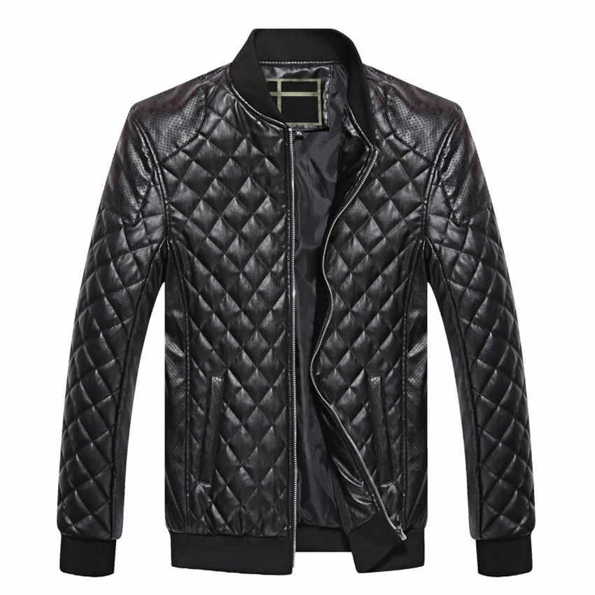 PUIMENTIUA Mens แจ็คเก็ตหนังฤดูใบไม้ร่วงฤดูหนาว PU ผู้ชาย Plus กำมะหยี่ Outerwear BIKER รถจักรยานยนต์คลาสสิกชายเสื้อแจ็คเก็ตสีดำ M-4XL