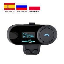 Freedconn TCOM SC bt interfone capacete da motocicleta intercomunicador sem fio bluetooth fone de ouvido à prova dlcd água lcd fm
