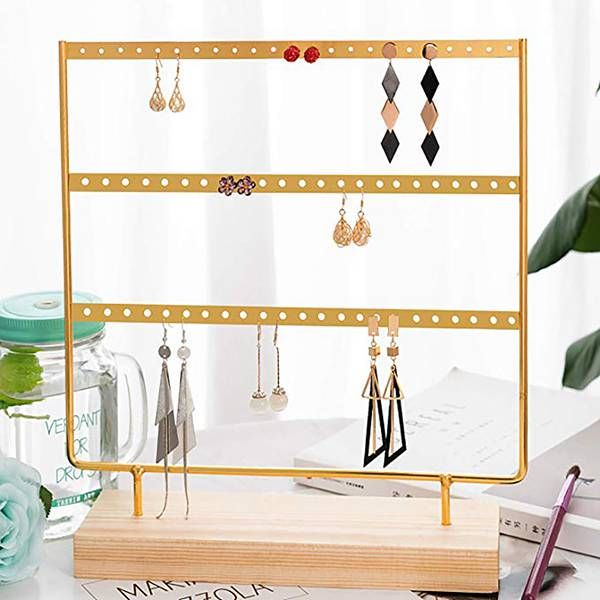 Earring Holder 4-Tier Ear Stud Holder Earring Stand Display Rack Luxury Jewelry Stand Display Holder Hanger Rack Tower With Wood