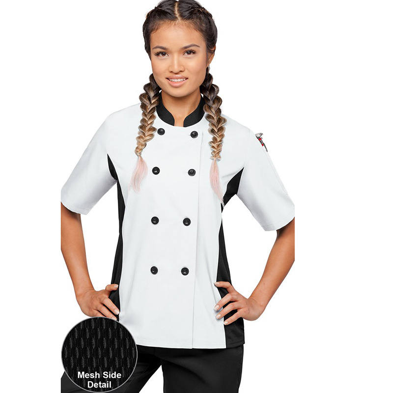 Female Chef Overalls New Spring Summer Short Sleeve Breathable Hotel Kitchen Western Restaurant Thin White High Quality Workwear