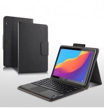 """กรณีสำหรับ Huawei MediaPad T5 10 AGS2 W09/L09/L03/W19 10.1 """"แท็บเล็ตบลูทูธคีย์บอร์ด PU หนัง Coque + ปากกา"""