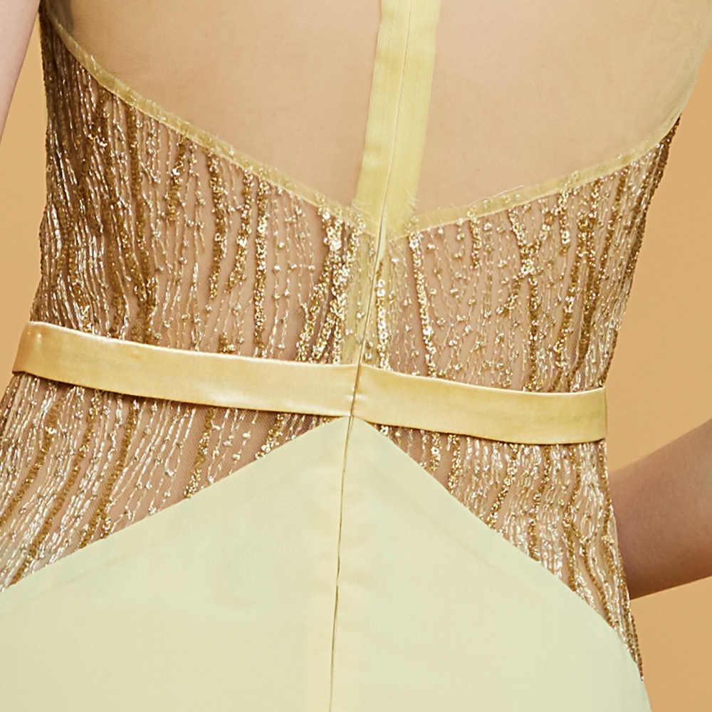 Dressv linia długa suknia balowa żonkil z wycięciem koronkowa suknia wieczorowa o długości do ziemi kobiety bez rękawów party wieczorowa, formalna suknie balowe
