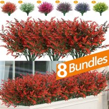 Fake Flowers Artificial Flowers Real Touch Artificial Bouquet UV Resistant Shrubs Plants No Fade Faux Plastic Home Garen Decors