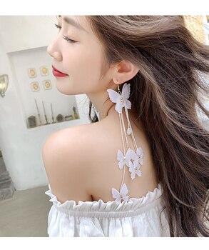 2019 yeni tasarım moda abartılı takı uzun beyaz kelebek küpe bohemian püskül tatil parti küpe kadınlar hediye için