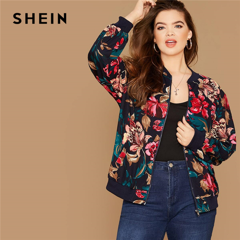 SHEIN Plus Size Floral Print Zipper Up Bomber Jacket Women Autumn Long Sleeve Stand Collar Coat Cute Outwear Casual Plus Jackets