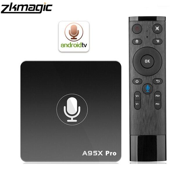 Boîte de télévision android Google Play boîte de télévision intelligente A95X Pro 2G 16G Android 7.1 contrôle vocal 2.4G WiFi PK H96MAX X96 4K HD 3D boîte android