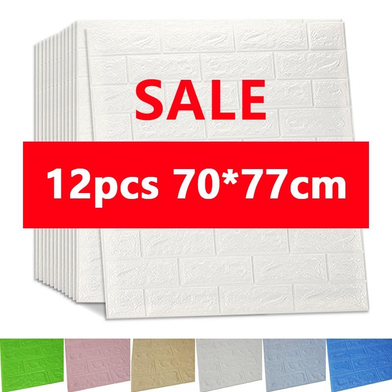 3D Wall Stickers Imitation Brick Bedroom Decor Waterproof Self-adhesive Wallpaper For Living Room Kitchen TV Backdrop Decor70*77(China)