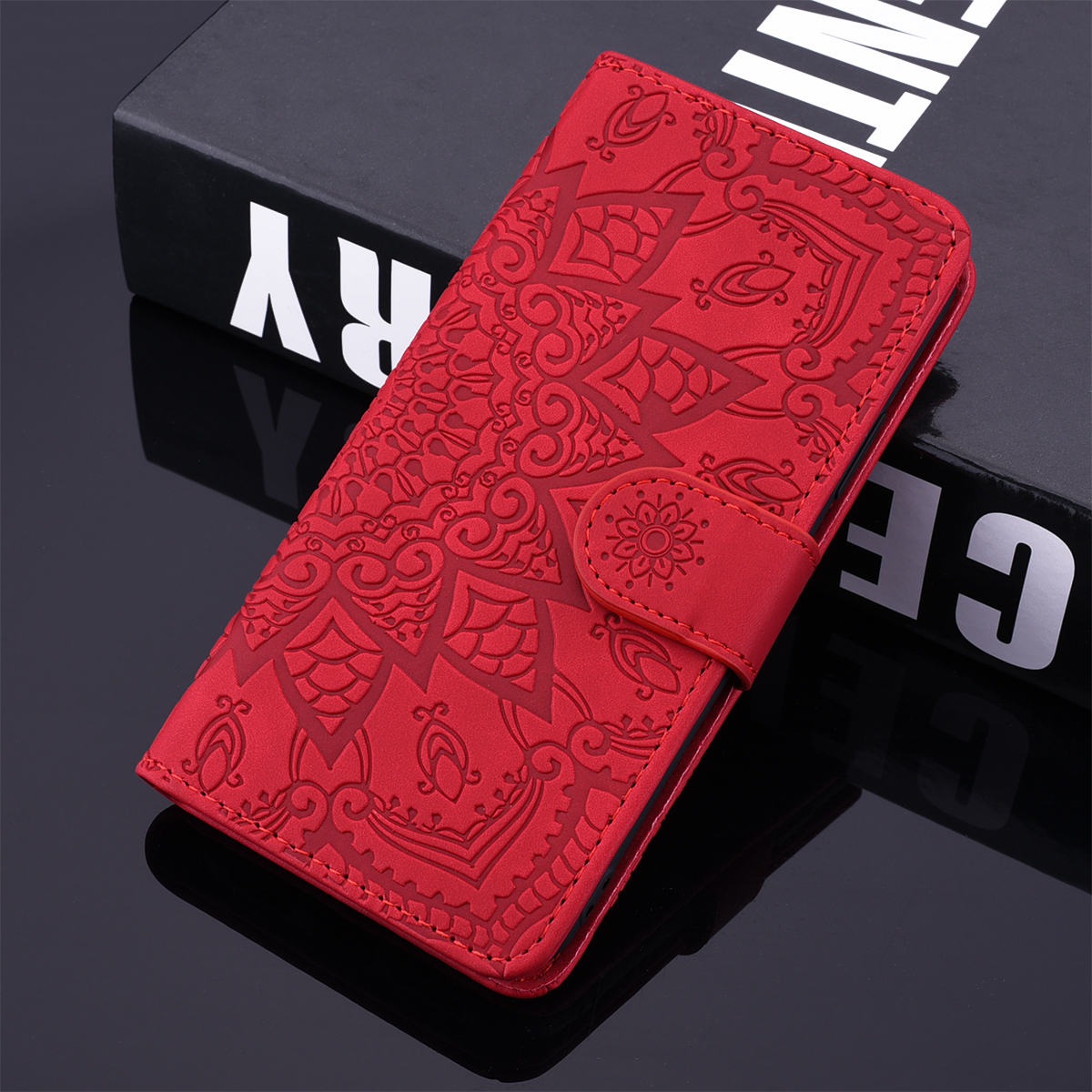 Scrub Datura Case For iPhone 11 Pro 7 8 6 6s Plus X XS Max XR Flip Leather 3D Embossed Book Case For iPhone11 5 5S SE 2020 8Plus(China)
