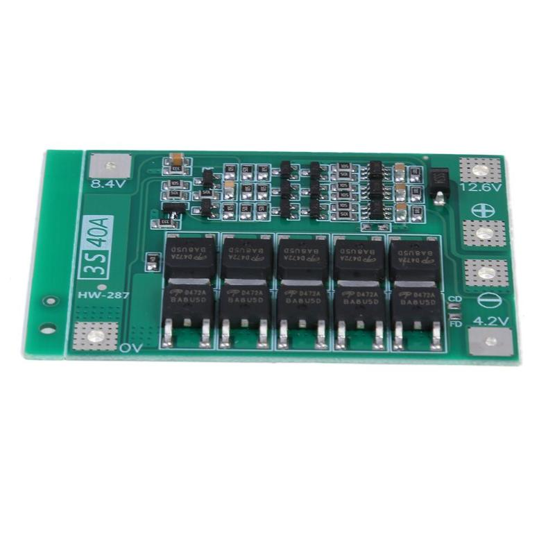 3S 40A Li-ion Lithium Battery Charger Protection Board PCB BMS For Drill Motor  12.6V Lipo Cell Module With Balance