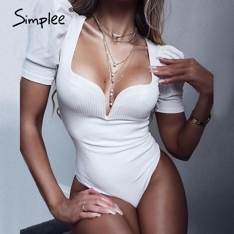 Simplee Vintage sexy solid white black bodysuits women Summer party club bodysuit female Elegant bodycon ladies causal playsuit