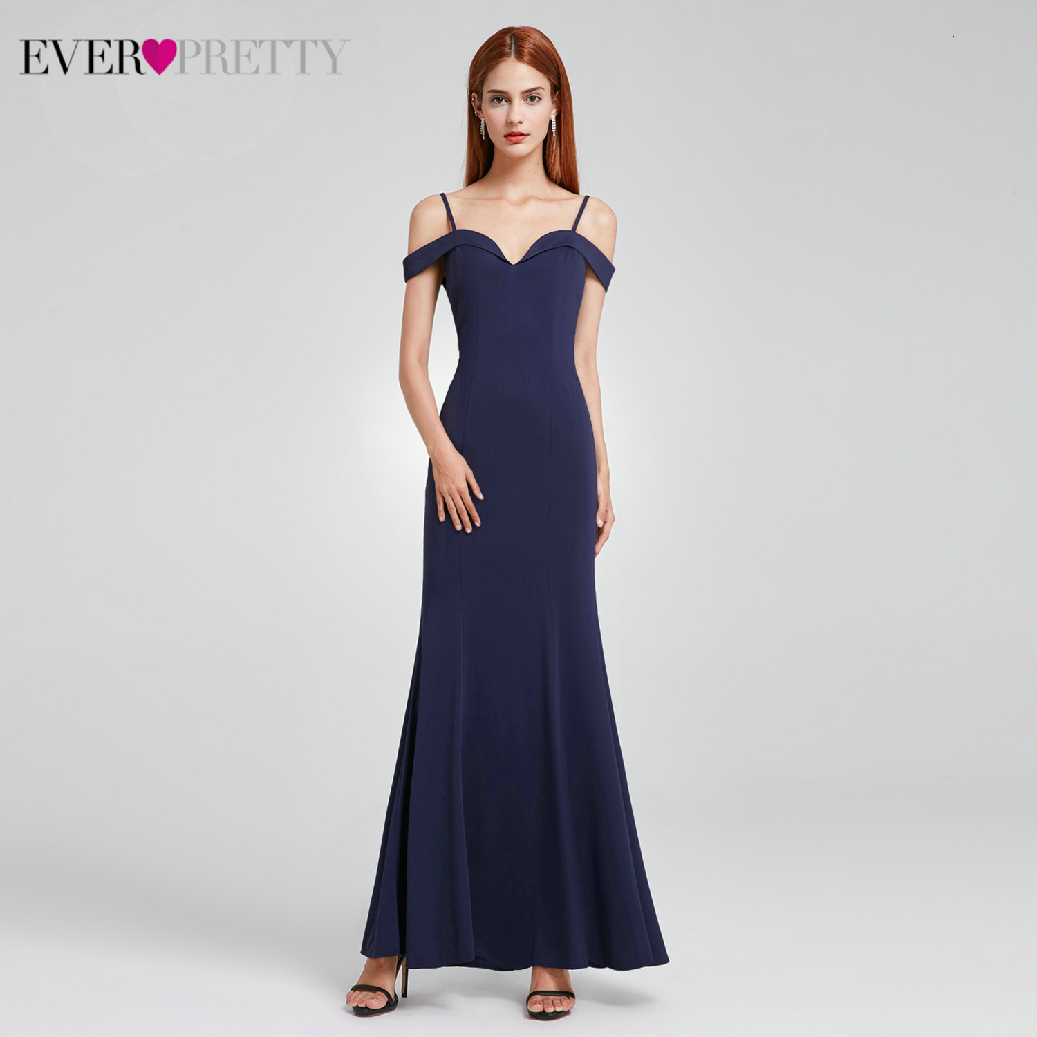 Elegant Mermaid   Evening     Dresses   Long Ever Pretty Spaghetti Straps V-Neck Cheap   Evening   Gowns For Party Vestido De Noiva 2019