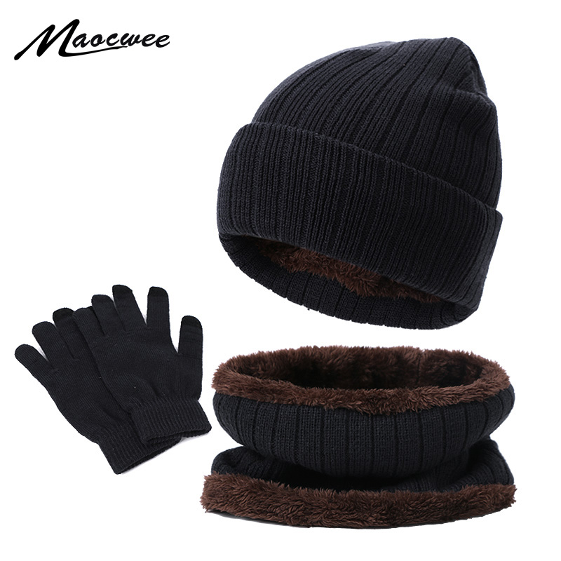 New Winter Warm Men's Hat Scarf Touch Screen Gloves Set Beanies Hats Knitted Thicken Men Women Cap Bib Gloves Suit Unisex 3Pcs