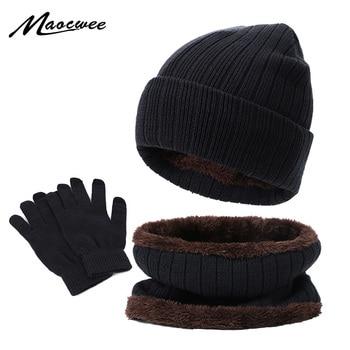 New Winter Warm Men's Hat Scarf Touch Screen Gloves Set Beanies Hats Knitted Thicken Men Women Cap Bib Gloves Suit Unisex 3Pcs