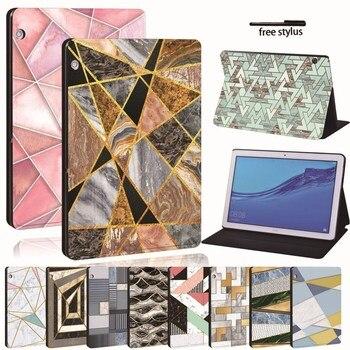 """Dla Huawei MediaPad T3 8 """"/10"""" T5 10 10.1 """"/M5 Lite 10.1/M5 10.8-wydrukowano PU skórzany Tablet stojak Folio odporny na wstrząsy pokrywy skrzynka"""